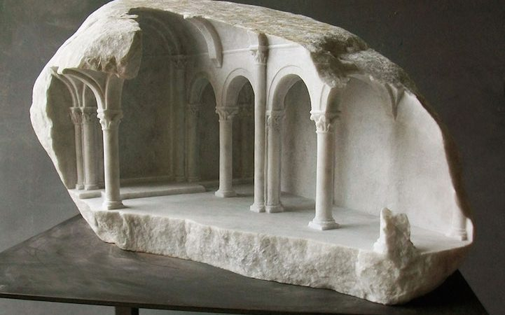 Sculptor Carves Ornate Architecture Interiors into Small Blocks of Marble and Stone